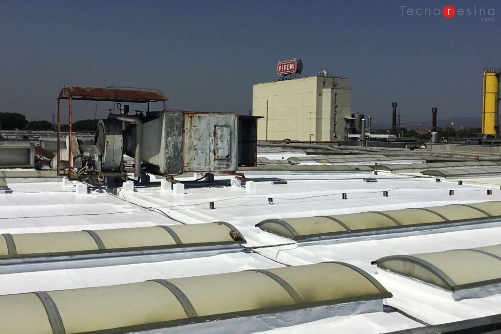 Impermeabilizzazione in resina della copertura piana industriale per l'azienda alimentazione Birra Peroni