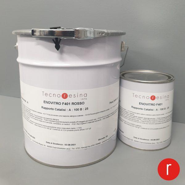 Vernice epossidica vetrificante per alimenti Enovitro F401 rosso 5Kg
